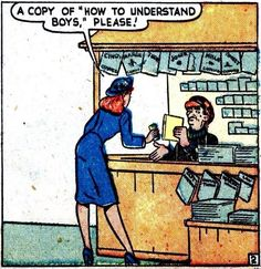 "Comic Girls Say.. ""A copy of 'how to understand boys', please..""  #comic #popart #vintage"