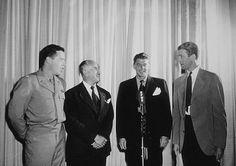 Ronald Reagan with Lt. Col. Johnny Meyers (L), Lt. Col. Jack Warner and Col. James Stewart (R) C. 1942