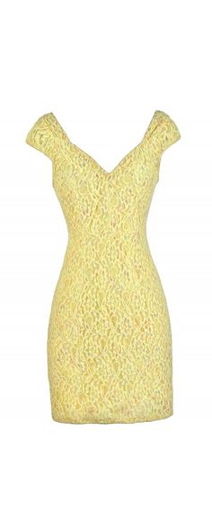 Lily Boutique Pastel Prism Capsleeve Lace Dress in Yellow, $34 www.lilyboutique.com