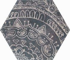 Decorative porcelain tile included in the Alchimia Esagono Bianco & Nero collection.  #geometric #porcelain #tiles