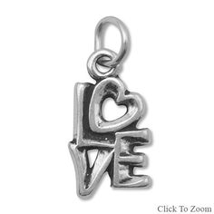 Fine Sterling Silver Love Charm by jewelrymandave on Etsy