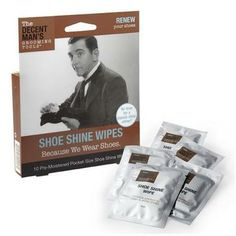 Decent Man Grooming Tools-Shoe Shine Wipes.  For $5.99 from www.wardrobesupplies.com
