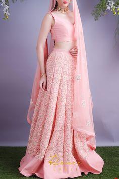 Indian Gowns Dresses, Indian Fashion Dresses, Indian Designer Outfits, Fashion Outfits, Prom Dresses, Pink Lehenga, Indian Lehenga, Lehenga Choli, Sarees