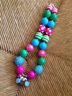 Boutique Owl Chunky Bubblegum Necklace on Etsy, $18.00 Chunky Bead Necklaces, Chunky Beads, Pretty Necklaces, Girls Necklaces, Kids Necklace, Necklace Ideas, Beaded Jewelry, Beaded Necklace, Beaded Bracelets