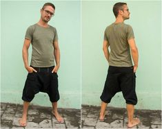 At least we made it ;) After many enquiries from many many guys we designed the Alibaba Pant in short version. We hope you like it ... ok but whats this design all about?!    The Alibaba Short is made of very light but also strong Cotton Canvas. Like this, the pant is cool but strong at the same Samurai Pants, Jedi Outfit, Rave Shorts, Pixie Outfit, Harem Pants Men, Dystopian Fashion, Cyberpunk Clothes, Witch Dress, Stretch Belt