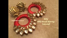How to make silk thread Earrings at home, Silk thread kundan Earrings, Tutorial. How to make silk thread kundan Earrings at home : In this video we have used chandbali base. For chandbali easy wrapping technique in detail click the link below: . Silk Thread Jumkas, Silk Thread Bangles Design, Silk Thread Necklace, Silk Bangles, Beaded Necklace Patterns, Thread Jewellery, Fabric Jewelry, Jewelry Patterns, Silk Thread Earrings Designs