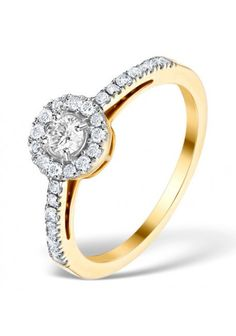 Bague de fiançailles diamant naturel de Halo 045 ct par wayram