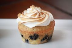 Blueberry Lemon Tres Leches Cupcakes with Toasted Meringue Frosting