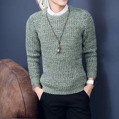 2016 Nueva Moda de Navidad Hombres Suéter de Invierno Gruesa Caliente de Manga Larga Hombres Suéter Del O-cuello Pull Homme Para Hombre de Color Sólido Suéteres