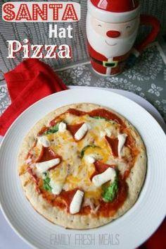 How to make a Christmas pizza! Santa Hat Pizza - FamilyFreshMeals.com by charlene