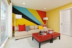 Modern Living Room with Mural, Carpet