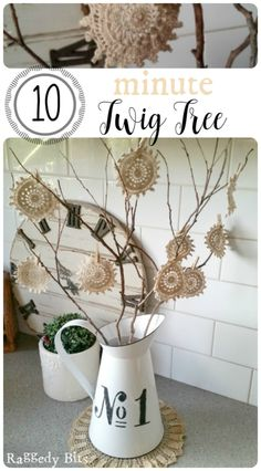 Looking for a simple and easy craft? Come and see how I made a 10 Minute Twig Tree using Vintage Doilies   www.raggedy-bits.com