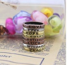 Serendipity (TM) 1 Set (8pcs) Vintage Fashion Mixed Charms Lettering Wishing Ring Rings-Copper&Silver&Gold by Serendipity, http://www.amazon.ca/dp/B00GFLAOG8/ref=cm_sw_r_pi_dp_OYVrtb08PFPFA