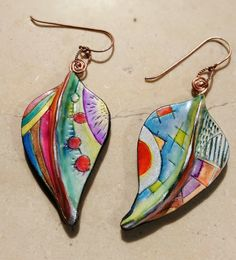 Polymer clay Leaves from the world earrings unique by ImpastArte