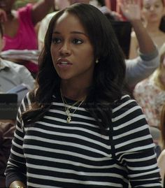 Michaela's black and white striped sweater on How to Get Away with Murder.  Outfit Details: http://wornontv.net/37229/ #HTGAWM