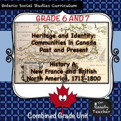 This is a grade resource that hits Ontario Social Studies and History Curriculum Ontario Curriculum, Social Studies Curriculum, Canadian Identity, British North America, Canadian History, Geography, Homeschool, Teacher, Study