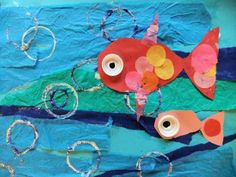 Puffy the Puffer Fish mixed media collage