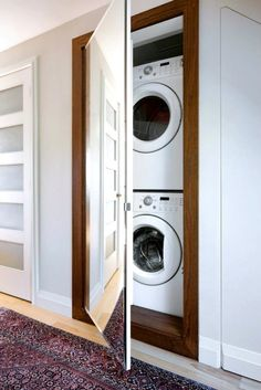 Hidden Laundry Room - Transitional - laundry room - Qanuk Interiors