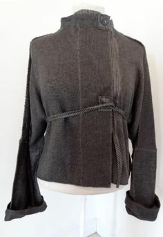 Crea Concept Lagen Look Gun Metal Linen Artsy Quirky Jacket Blouse Top Shirt XL
