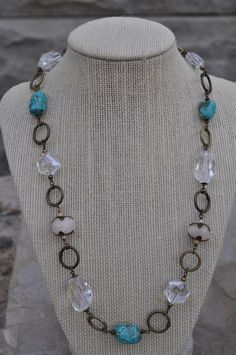 Turquoise and Stone Chain Necklace by MatoryaStones on Etsy