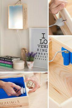 ¡No tires tus cajas de vino! Recíclalas y aprende cómo hacer una lámpara de pared muy original. Ideal para darle un toque distinto a tu decoración.