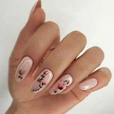 New stylish nail art ideas every day Fancy Nails Designs, Oval Nail Designs, Fire Nails, Best Acrylic Nails, Dream Nails, Flower Nails, Nagel Gel, Stylish Nails, Elegant Nails
