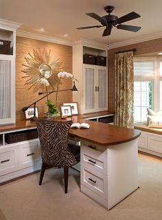 Love the way the desk opens out into the room.