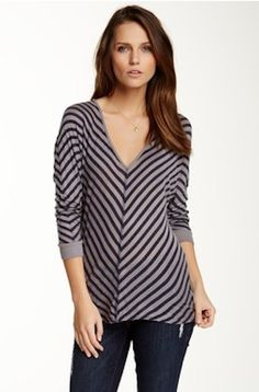 VELVET By Graham & Spencer Karida 3/4 Sleeve Striped V Neck Top Navy Grey S $99 #VelvetbyGrahamSpencer #Top #Casual