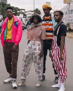 """forafricans: """"A group of fashion creatives pose for a portrait at a thrift social event. African Street Style, Botanical Fashion, Afro Punk Fashion, Concert Dresses, Music Festival Fashion, Future Trends, Street Culture, Nairobi, Streetwear Fashion"""