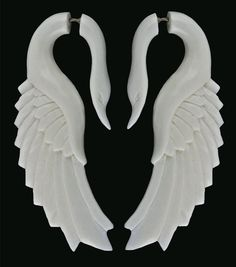 long white swan earrings