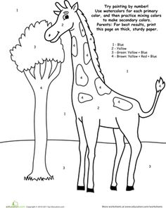 The Giraffe That Walked to Paris - color by # Giraffe Worksheet