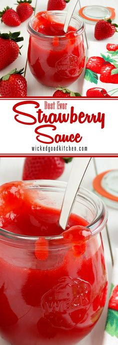 Strawberry Sauce (best ever) ~ Lush, thick, bright ruby-red and bursting with fresh strawberry flavor, this versatile dessert sauce is easy to prepare, much better than store bought, uses only 3 ingredients and is ready in just 15 minutes! Perfect for everyday, holiday and special occasion desserts. | diy dessert recipe
