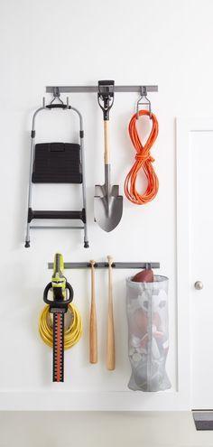 Elfa Platinum Utility Track with Three Hooks – Garage Organization DIY Garage Tool Organization, Garage Storage, Organization Ideas, Organizing, Garage Hooks, Garage Plans With Loft, Garage Solutions, Garage Makeover, Garage Design