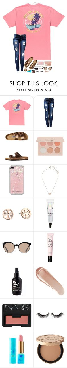 """writing exam tomorrow.. yay "" by hopemarlee ❤ liked on Polyvore featuring Birkenstock, Guerriero, Rebecca Minkoff, Kendra Scott, Tory Burch, NYX, Balenciaga, NARS Cosmetics, tarte and Too Faced Cosmetics"