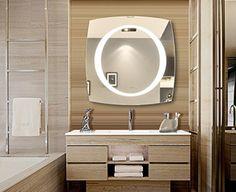 Bathroom Vanity Ideas Bathroom vanities are extremely useful and are the best addition to bathroom decor. Backlit Bathroom Mirror, Lighted Vanity Mirror, Led Mirror, Mirror With Lights, Vanity Mirrors, Wall Mirrors, Modern Bathroom, Small Bathroom, Bathroom Ideas