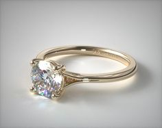Split Shank Solitaire Engagement Ring in Yellow Gold (Setting Price) Vintage Gold Engagement Rings, Round Diamond Engagement Rings, Beautiful Engagement Rings, Engagement Ring Styles, Diamond Solitaire Rings, Designer Engagement Rings, Engagement Ring Settings, Black Rings, Deco