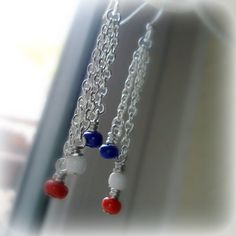 Red White Blue Jewelry Chain Earrings Independence Day by cdjali, $10.00