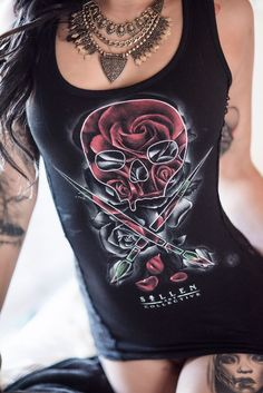 Rose Badge side lace tank featuring artwork by Fernando De Pavia