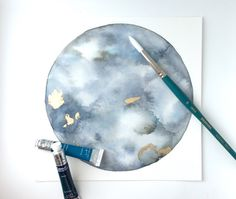 ORIGINAL Watercolor Moon Painting with Gold by LostCoastStudio