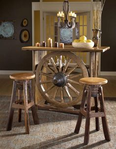 Rustic Western Style Bar w Wagon Wheel Center In Reclaimed Teak
