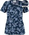 UA Women's Frenchy Toile Navy Round Neck Scrub Top with Decorative Buckle