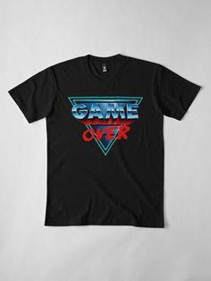 """Game Over"" T-Shirt by Remus Brailoiu New Retro Wave, Retro Waves, 80s Design, Logo Design, 80s Aesthetic, Games To Buy, Retro Futurism, My T Shirt, Men's Clothing"