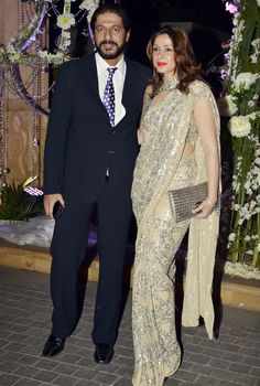 Chunky Pandey with wife Bhavna at Manish Malhotra's niece Riddhi's sangeet. #Bollywood #Fashion #Style #Beauty