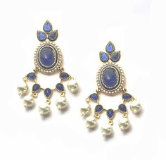 Indian Bollywood Kundan Pearl Gold 925 Plated Fashion Sterling Earrings Jewelry  #vidhijewelss #DropDangle