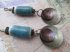 Ceramic Earrings Boho Earrings Earthy Earrings Dangle Earrings Jewelry Brass Earrings