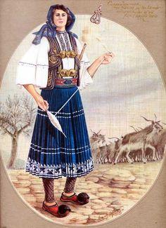 Σαρακατσάνισσα της Ηπείρου με την τοπικήν ενδυμασίαν της και στο βάθος ορεινό τοπίο.