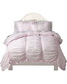 Simply Shabby Chic Smocked Duvet Cover Set - Pink from Target, with gray sheets. This will be perfect for the girls' room