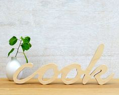 Wood Word Sign 'Cook' wall decor typography by StudioLiscious