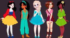 So cute! Modern Snow White, Jasmine, Elsa, Rapunzel, and Tiana