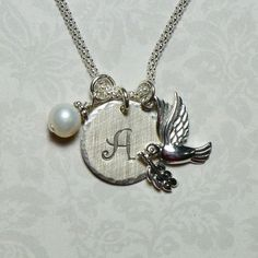 Dove with Olive Branch Hand Stamped Sterling Silver Initial Charm Necklace by #DolphinMoonCreations #dovenecklace